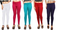 Comix Womens White, Pink, Green, Red, Purple Leggings(Pack of 5)