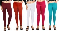 Comix Womens Maroon, Orange, White, Pink, Green Leggings(Pack of 5)