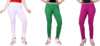 Fck-3 Women's White, Green, Purple Leggings(Pack of 3)