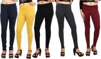 Comix Womens Dark Blue, Yellow, Black, Black, Maroon Leggings(Pack of 5)