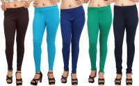 Comix Womens Brown, Light Blue, Blue, Green, Dark Blue Leggings(Pack of 5)