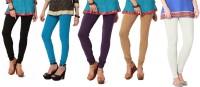 Angel Soft Womens Black, Light Blue, Purple, Beige, White Leggings(Pack of 5)