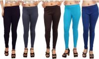 Comix Womens Purple, Grey, Brown, Light Blue, Blue Leggings(Pack of 5)
