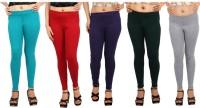 Comix Womens Green, Red, Purple, Dark Green, Grey Leggings(Pack of 5)