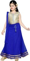 Aarika Girls Lehenga Choli Ethnic Wear Self Design Lehenga, Choli and Dupatta Set(Blue, Pack of 1)