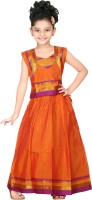 Bhartiya Paridhan Girls Lehenga Choli Ethnic Wear Self Design Lehenga Choli(Orange, Pack of 1)