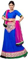 Aasvaa Self Design Lehenga Choli(Dark Blue, Pink)