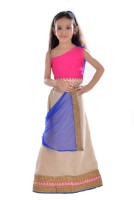 K&U Girls Lehenga Choli Ethnic Wear Self Design Lehenga Choli(Multicolor, Pack of 1)
