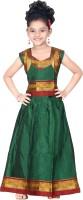 Bhartiya Paridhan Girls Lehenga Choli Ethnic Wear Self Design Lehenga Choli(Green, Pack of 1)