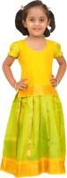 Kanakadara Girls Lehenga Choli Ethnic Wear Self Design Lehenga Choli(Multicolor, Pack of 2)