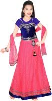 Trendyy Girls Girls Lehenga Choli Ethnic Wear Self Design Lehenga, Choli and Dupatta Set(Pink, Pack of 1)