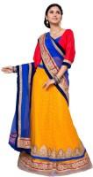 Aasvaa Self Design Lehenga Choli(Yellow, Blue)