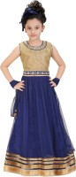 Trendyy Girls Girls Lehenga Choli Ethnic Wear Self Design Lehenga Choli(Blue, Pack of 1)