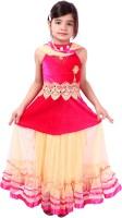 Tiny Toon Girls Lehenga Choli Ethnic Wear Embroidered Lehenga, Choli and Dupatta Set(Pink, Pack of 1)