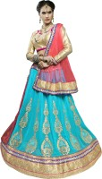 Khushali Georgette Self Design, Embroidered, Embellished Semi-stitched Lehenga Choli Material
