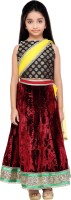 K&U Girls Lehenga Choli Fusion Wear Self Design Lehenga Choli(Multicolor, Pack of 2)