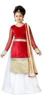 Aarika Girls Lehenga Choli Ethnic Wear Self Design Lehenga, Choli and Dupatta Set(Maroon, Pack of 1)