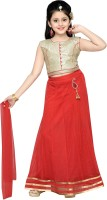 Aarika Girls Lehenga Choli Ethnic Wear Self Design Lehenga, Choli and Dupatta Set(Red, Pack of 1)