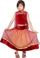 Tiny Toon Girls Lehenga Choli Fusion Wear Embroidered Lehenga, Choli and Dupatta Set(Red, Pack of 1)
