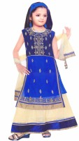 Hey Baby Girls Lehenga Choli Ethnic Wear Embroidered Lehenga, Choli and Dupatta Set(Blue, Pack of 1)