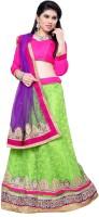 Aasvaa Self Design Lehenga Choli(Light Green, Purple)