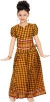 Bhartiya Paridhan Girls Lehenga Choli Ethnic Wear Checkered Lehenga Choli(Yellow, Pack of 1)