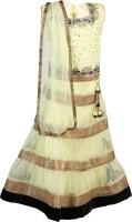 Crazeis Girls Lehenga Choli Ethnic Wear Self Design Lehenga, Choli and Dupatta Set(Yellow, Pack of 1)