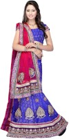 JTInternational Self Design Fashion Net Saree(Blue, Red)