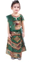 RTD Girls Lehenga Choli Ethnic Wear Self Design Lehenga, Choli and Dupatta Set(Green, Pack of 1)