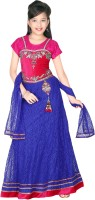 Trendyy Girls Girls Lehenga Choli Ethnic Wear Self Design Lehenga, Choli and Dupatta Set(Blue, Pack of 1)