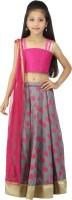 Kay Girls Lehenga Choli Ethnic Wear Self Design Lehenga, Choli and Dupatta Set(Multicolor, Pack of 1)