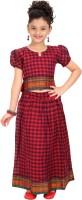 Bhartiya Paridhan Girls Lehenga Choli Ethnic Wear Checkered Lehenga Choli(Red, Pack of 1)