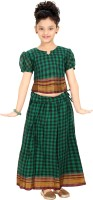 Bhartiya Paridhan Girls Lehenga Choli Ethnic Wear Checkered Lehenga Choli(Green, Pack of 1)