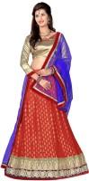 Aasvaa Embroidered Lehenga, Choli and Dupatta Set(Red, Blue)