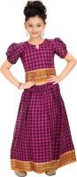 Bhartiya Paridhan Girls Lehenga Choli Ethnic Wear Checkered Lehenga Choli(Purple, Pack of 1)