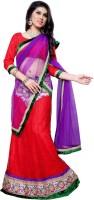 Aasvaa Self Design Lehenga Choli(Red, Purple)