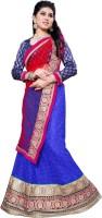 Aasvaa Self Design Lehenga Choli(Blue, Red)
