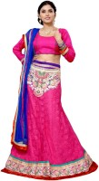 Aasvaa Self Design Lehenga Choli(Pink, Dark Blue)