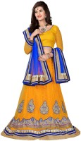 Aasvaa Embroidered Lehenga, Choli and Dupatta Set(Yellow, Blue)