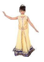 Arshia Fashions Girls Lehenga Choli Ethnic Wear Embroidered Lehenga, Choli and Dupatta Set(Beige, Pack of 1)