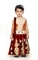 Angel Wears Girls Lehenga Choli Ethnic Wear Self Design Lehenga, Choli and Dupatta Set(Multicolor, Pack of 1)