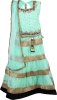 Crazeis Girls Lehenga Choli Ethnic Wear Self Design Lehenga, Choli and Dupatta Set(Light Green, Pack of 1)