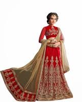 Aasvaa Embroidered Lehenga, Choli and Dupatta Set(Red)