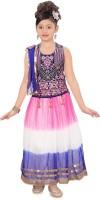Sini Mini Girls Lehenga Choli Ethnic Wear Self Design Lehenga, Choli and Dupatta Set(Multicolor, Pack of 1)