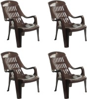 Cello Plastic Outdoor Chair(I-Brn, Set of 4)