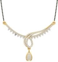 Jewels5 Praghosha 18kt Diamond Yellow Gold Mangalsutra Tanmaniya(Rhodium Plated)