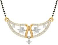 Jewels5 Shrungi 18kt Diamond Yellow Gold Mangalsutra Tanmaniya(Rhodium Plated)
