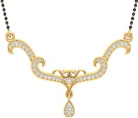 Jewels5 Tanaya 18kt Diamond Yellow Gold Mangalsutra Tanmaniya(Rhodium Plated)