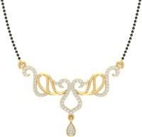 Jewels5 Akshi 18kt Diamond Yellow Gold Mangalsutra Tanmaniya(Rhodium Plated)