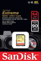 SanDisk 4K 64 GB Extreme HD Video Class 10 90 MB/s Memory Card